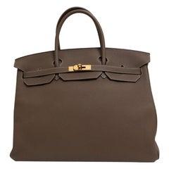 Hermes NEW Birkin 40 Taupe Tan Men's Carryall Travel Top Handle Satchel Tote Bag