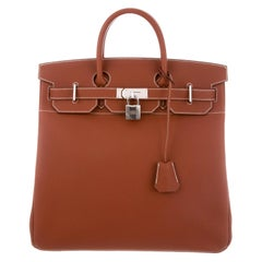 Hermes NEW Birkin HAC 40 Cognac Leather  Men's Travel Top Handle Tote Bag
