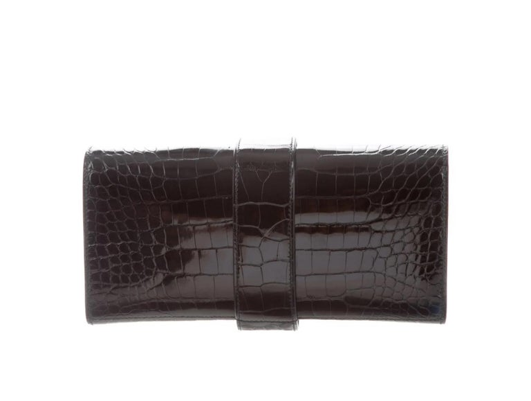 Hermes NEW Black Alligator Leather Buckle Evening Envelope Clutch Flap Bag In New Condition For Sale In Chicago, IL