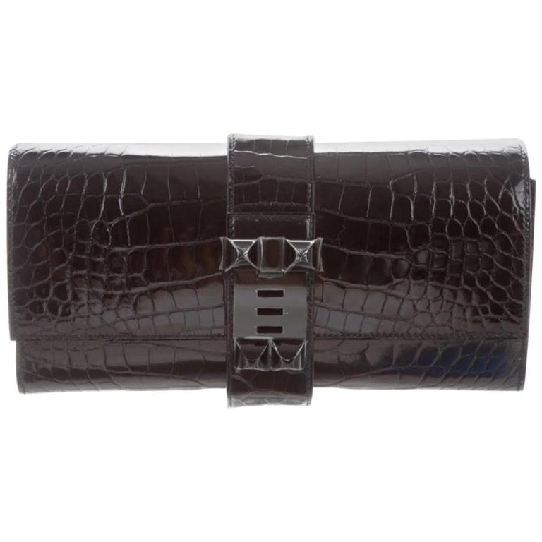 Hermes NEW Black Alligator Leather Buckle Evening Envelope Clutch Flap Bag For Sale