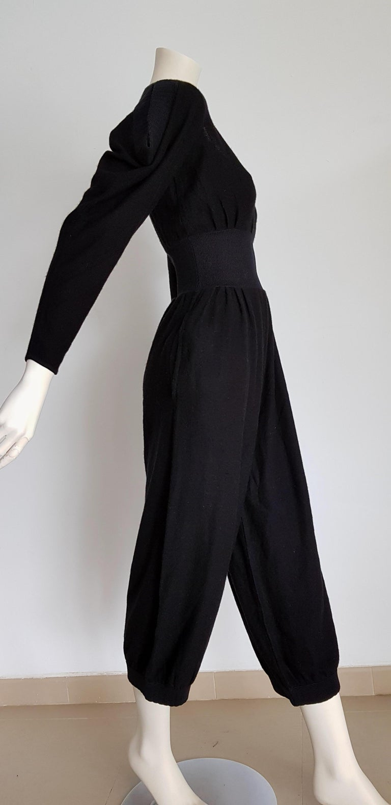HERMES black cashmere and silk jumpsuit with elasticated waistband - Unworn, New.  SIZE: equivalent to about Small / Medium, please review approx measurements as follows in cm.  JUMPSUIT: lenght 126, chest underarm to underarm 47, bust circumference