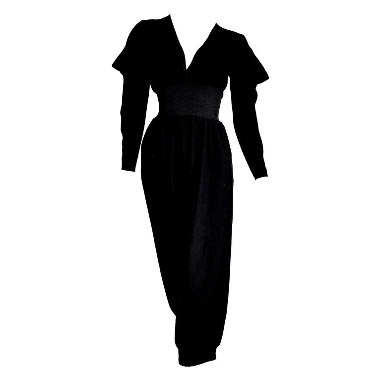 """HERMES """"New"""" Black Cashmere and Silk Jumpsuit with Elasticated Waistband- Unworn For Sale"""