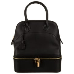 Hermes NEW Black Leather Gold Top Handle Satchel Men's Women's Travel Tote Bag