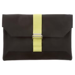 Hermes NEW Black Leather Neon Palladium Evening Envelope Clutch Flap Bag