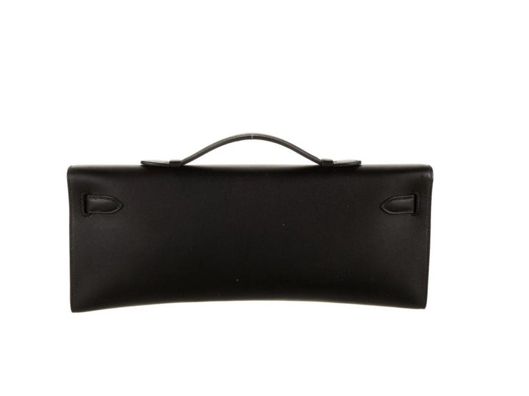 Hermes NEW Black Leather Palladium Kelly Evening Top Handle Clutch Bag in Box In New Condition For Sale In Chicago, IL