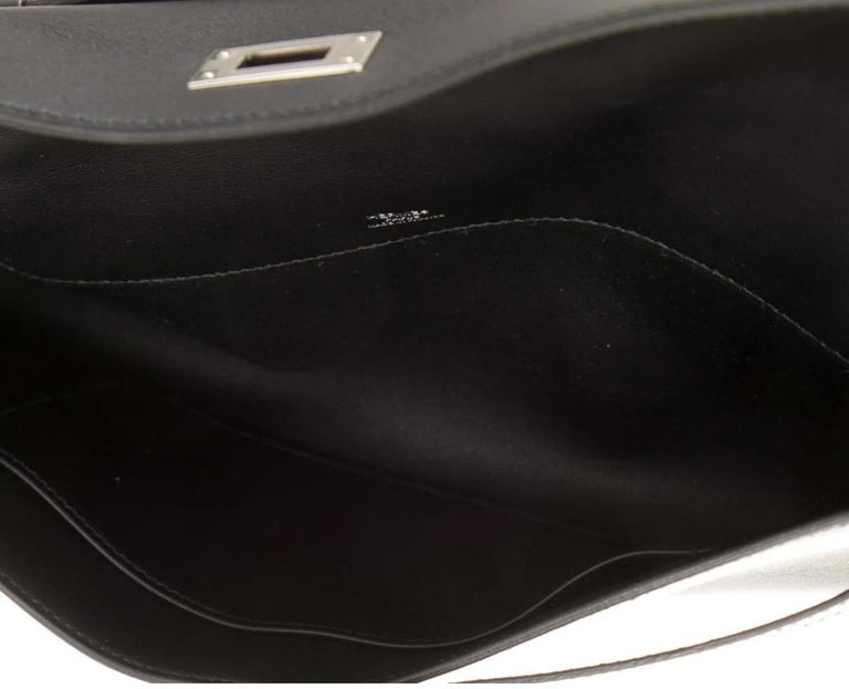 Women's Hermes NEW Black Leather Palladium Kelly Evening Top Handle Clutch Bag in Box For Sale