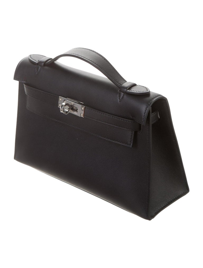 Hermes NEW Black Leather Palladium Top Handle Satchel Small Tote Bag in Box In New Condition In Chicago, IL