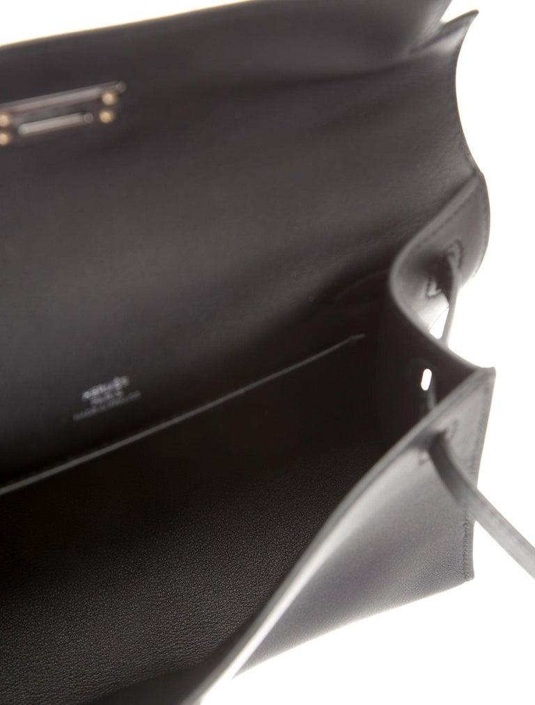 Women's Hermes NEW Black Leather Palladium Top Handle Satchel Small Tote Bag in Box