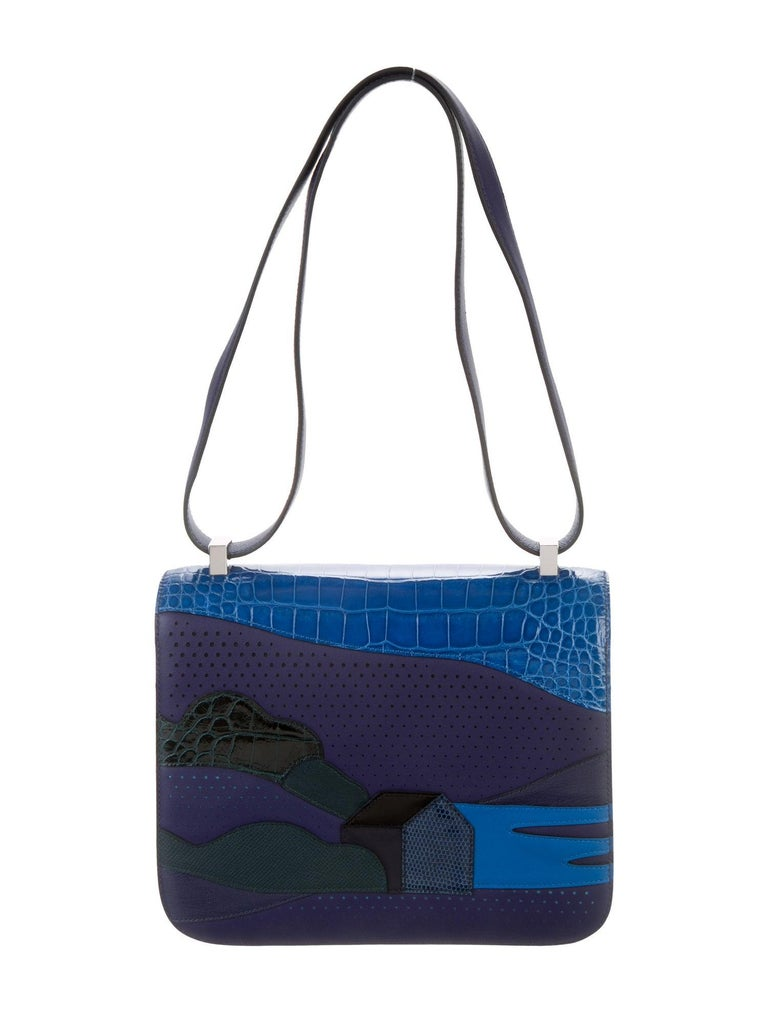 Hermes NEW Blue Crocodile Lizard Exotic 'H' Logo Shoulder Flap Bag in Box In New Condition For Sale In Chicago, IL