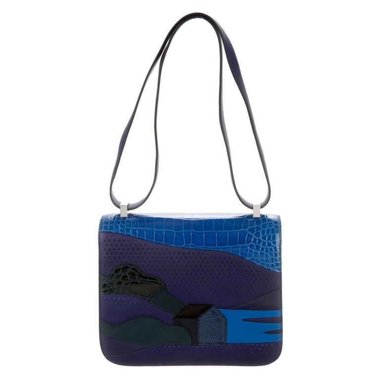 Hermes NEW Blue Crocodile Lizard Exotic 'H' Logo Shoulder Flap Bag in Box For Sale
