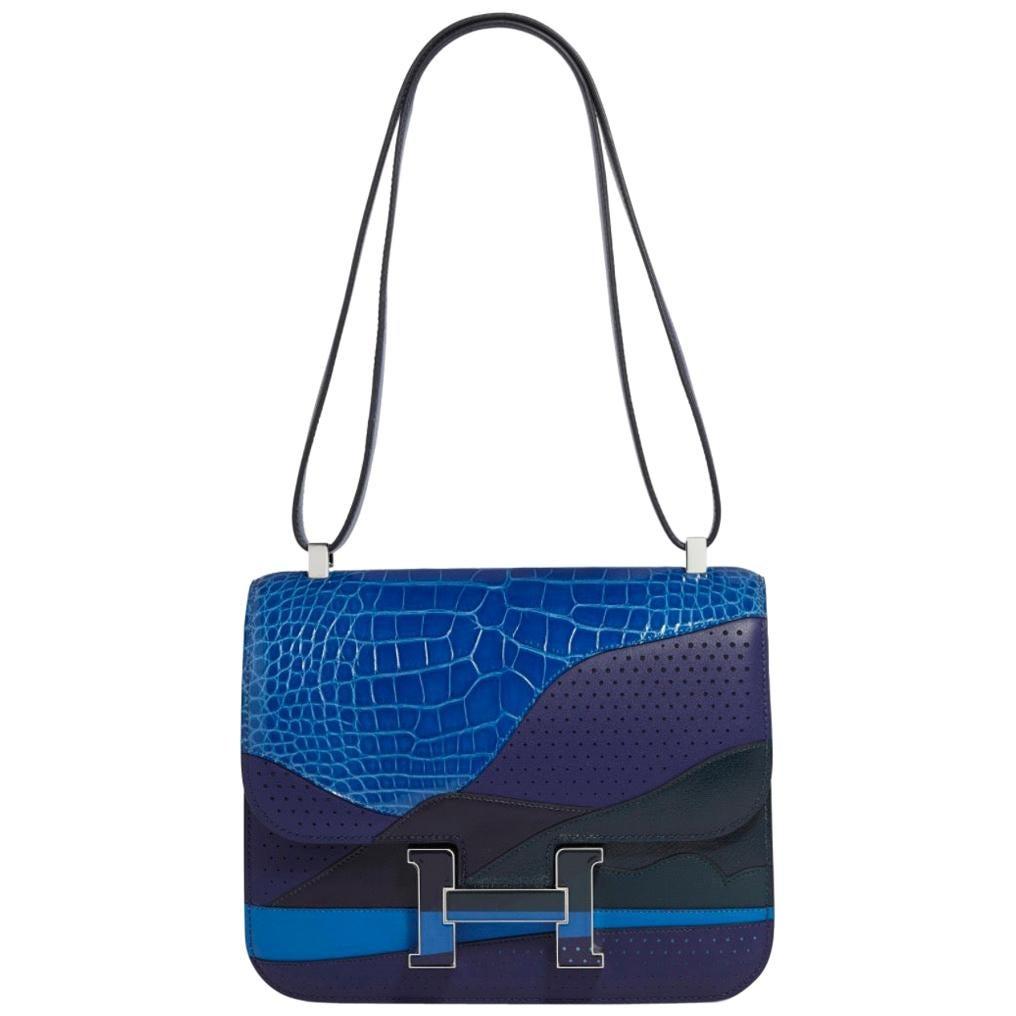 Hermes NEW Blue Exotic Alligator Leather Evening 'H' Logo Shoulder Bag in Box