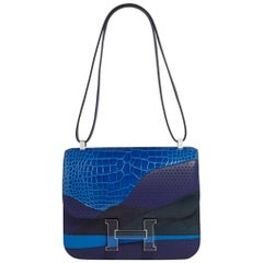 Hermes NEW Blue Exotic Alligator Leather Evening 'H' Logo Shoulder Bag in Box