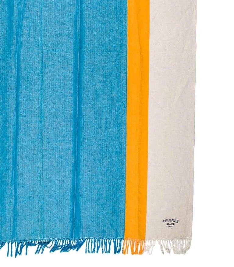 Beige Hermes NEW Blue Yellow Ivory Stripe Beach Fringe Blanket Throw in Box For Sale