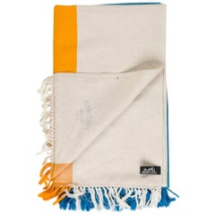 Hermes NEW Blue Yellow Ivory Stripe Beach Fringe Blanket Throw in Box
