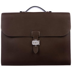 Hermes NEW Brown Leather Palladium Top Handle Satchel Business Briefcase