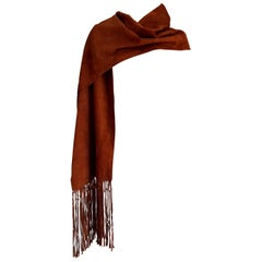 "HERMES ""New"" Brown Suede Scarf with Fringes Silk Lined for Collector - Unworn"