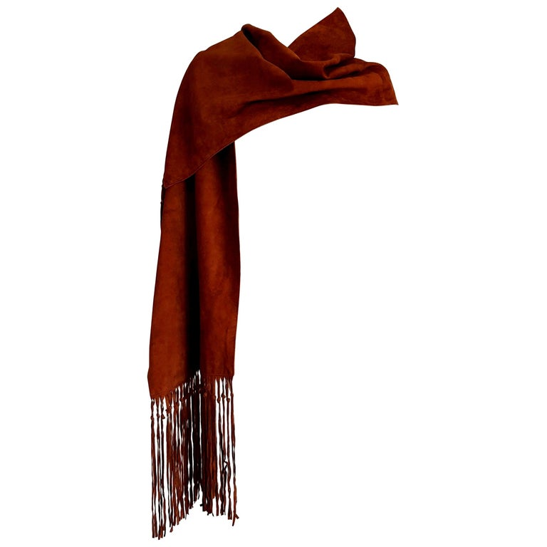 """HERMES """"New"""" Brown Suede Scarf with Fringes Silk Lined for Collector - Unworn For Sale"""