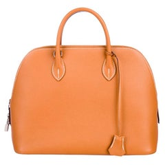 Hermes NEW Cognac Leather Top Handle Satchel Carryall Tote Shoulder Bag