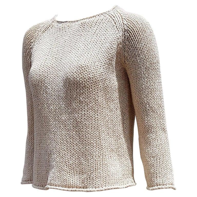 "HERMÈS ""New"" Cream Beige Silk Linen Sweater - Unworn For Sale"