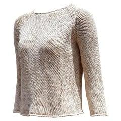 """HERMÈS """"New"""" Cream Beige Silk Linen Sweater - Unworn"""