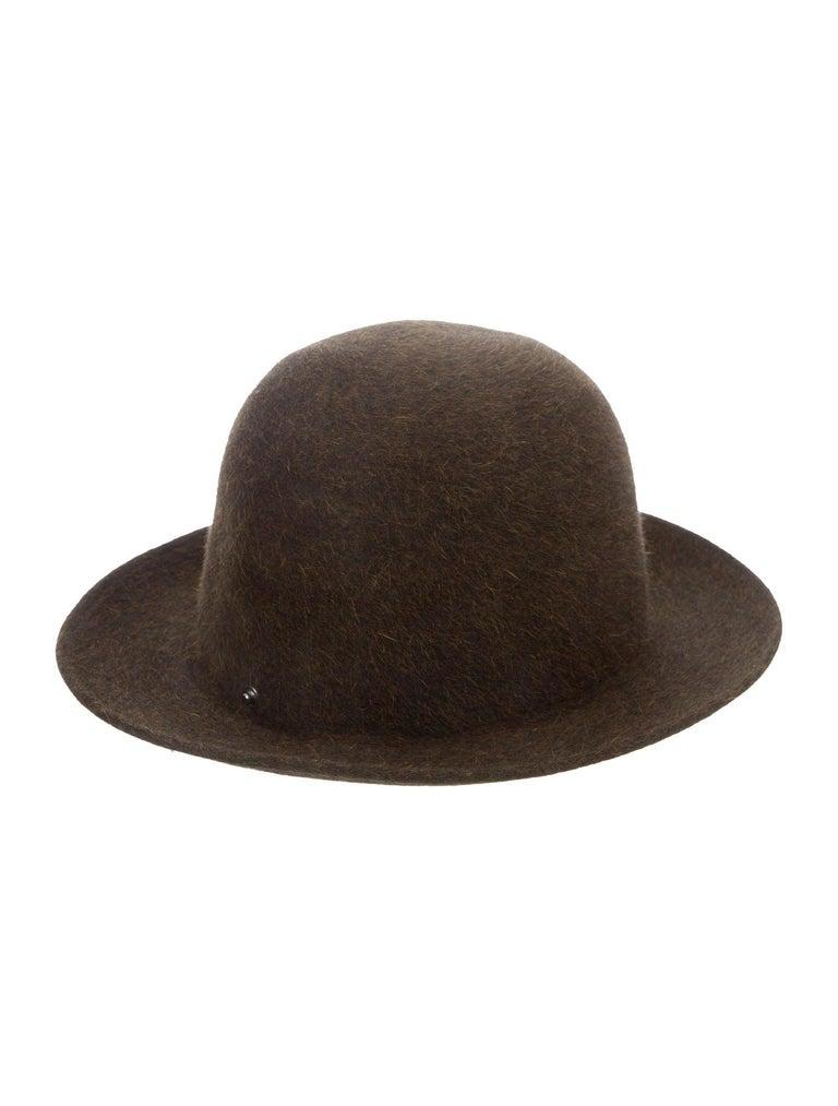 Hermes NEW Dark Brown Bucket Fedora Wool Leather Trim Men's Women's Hat For Sale 1