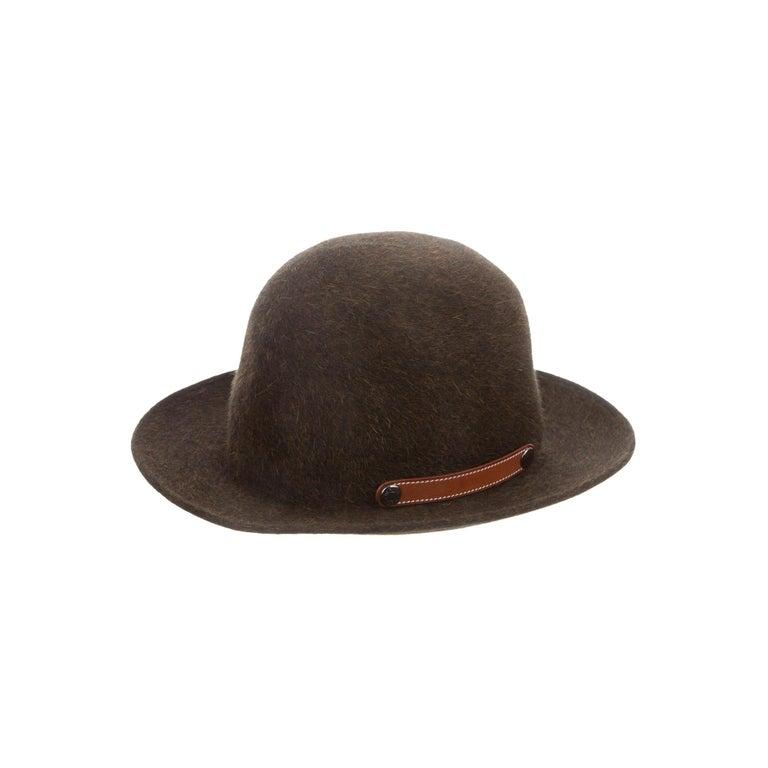 Hermes NEW Dark Brown Bucket Fedora Wool Leather Trim Men's Women's Hat For Sale