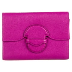 Hermes NEW Fuchsia Magnolia Leather Small Clutch Wallet Evening Flap Bag in Box
