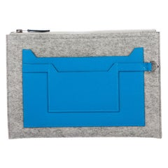 Hermes NEW Gray Wool Felt Blue Leather Evening Travel Cosmetic Clutch Bag