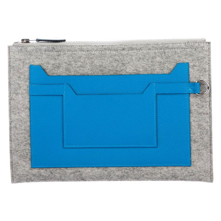 Hermes NEW Gray Wool Felt Blue Leather Evening Travel Cosmetic Clutch Bag For Sale