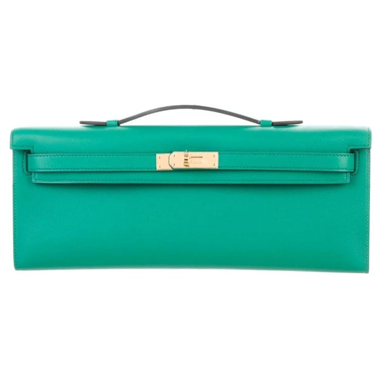 Hermes NEW Green Leather Gold Kelly Evening Top Handle Clutch Bag in Box