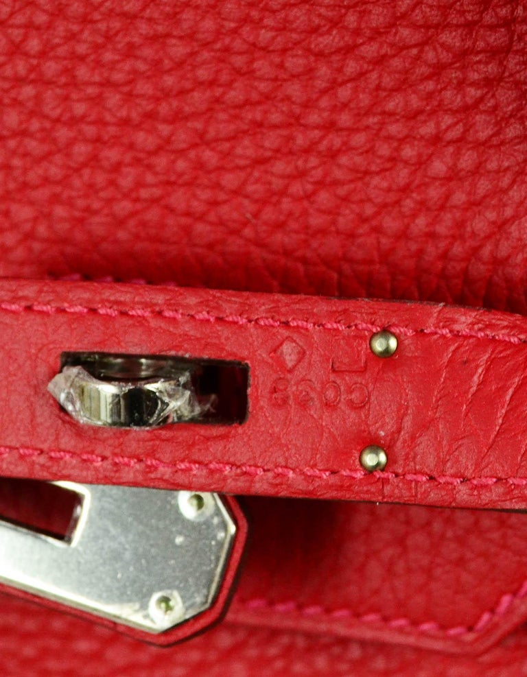 Hermes NEW IN BOX 35cm Red Clemence Leather 35cm Birkin Bag PHW 6
