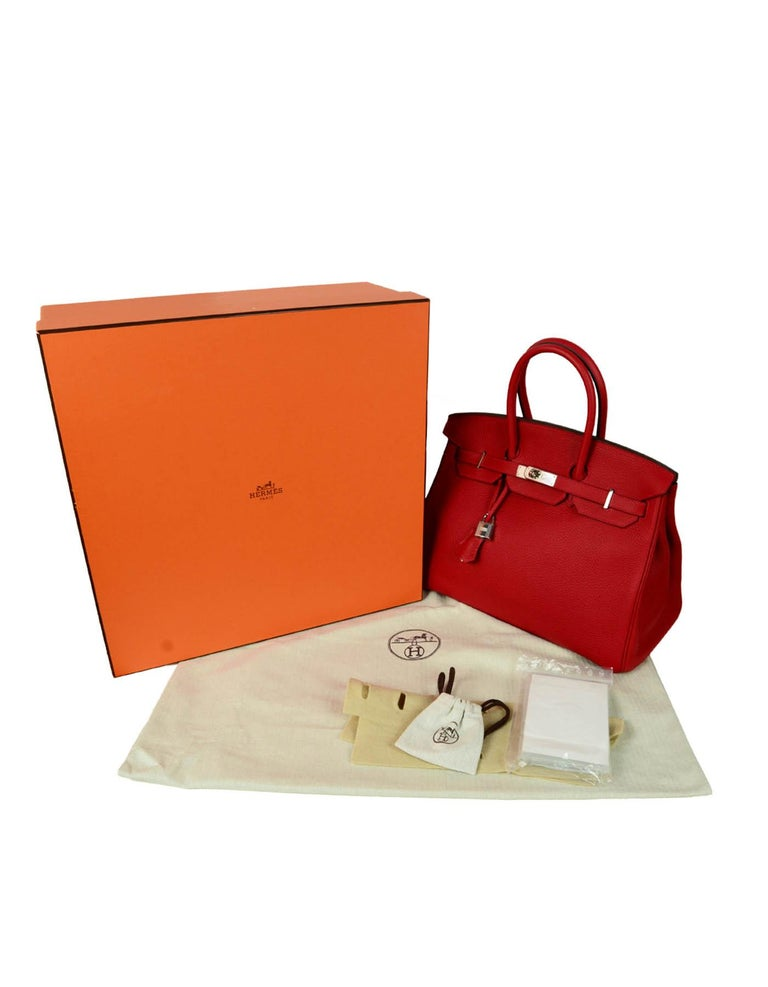 Hermes NEW IN BOX 35cm Red Clemence Leather 35cm Birkin Bag PHW 8