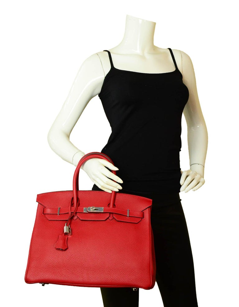 Hermes NEW IN BOX 35cm Red Clemence Leather 35cm Birkin Bag PHW  Made In: France Year of Production: 2013 Color: Red Hardware: Palladium Materials: Clemence leather Lining: Chevre leather Closure/Opening: Belt w/turnlock Interior Pockets: Zipper