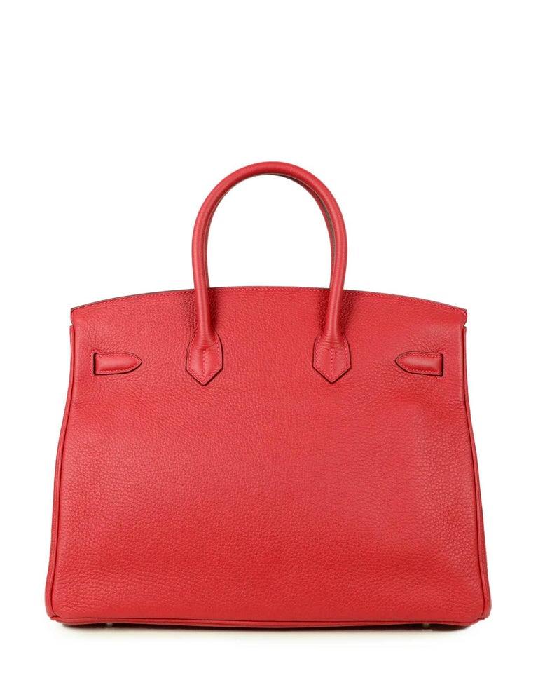 Hermes NEW IN BOX 35cm Red Clemence Leather 35cm Birkin Bag PHW In New Condition In New York, NY