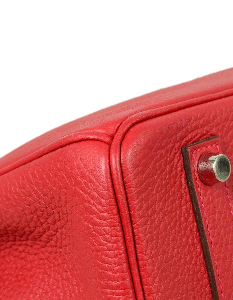 Women's Hermes NEW IN BOX 35cm Red Clemence Leather 35cm Birkin Bag PHW