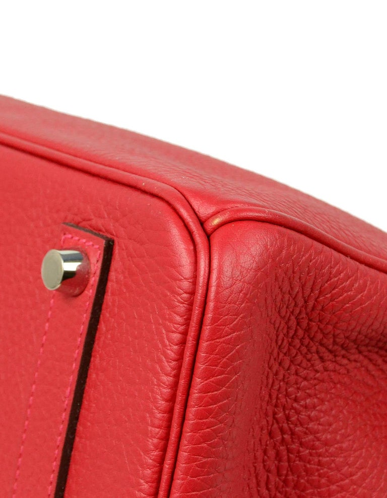 Hermes NEW IN BOX 35cm Red Clemence Leather 35cm Birkin Bag PHW 1