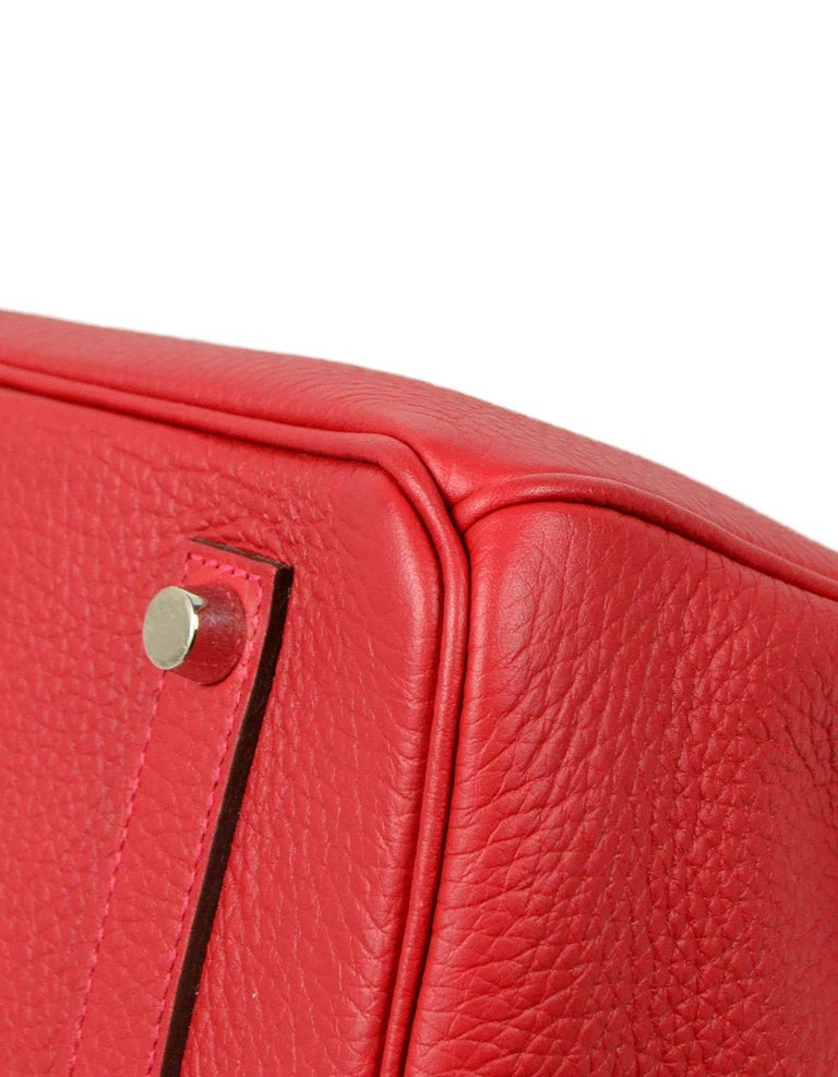 Hermes NEW IN BOX 35cm Red Clemence Leather 35cm Birkin Bag PHW 2
