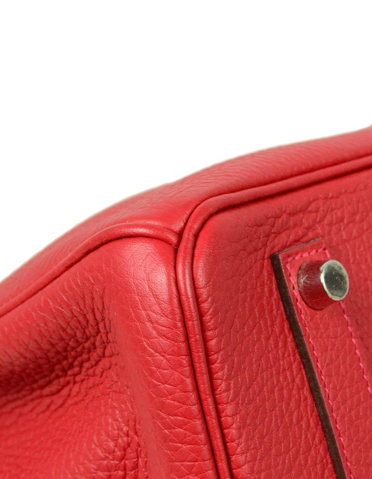Hermes NEW IN BOX 35cm Red Clemence Leather 35cm Birkin Bag PHW 3