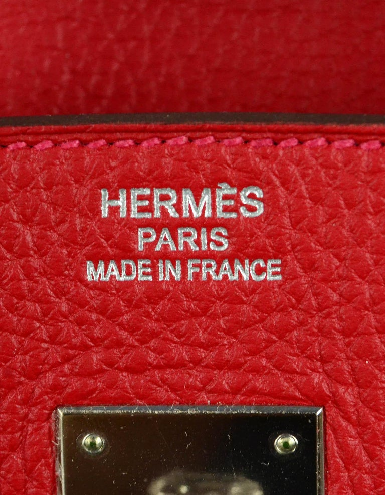 Hermes NEW IN BOX 35cm Red Clemence Leather 35cm Birkin Bag PHW 4