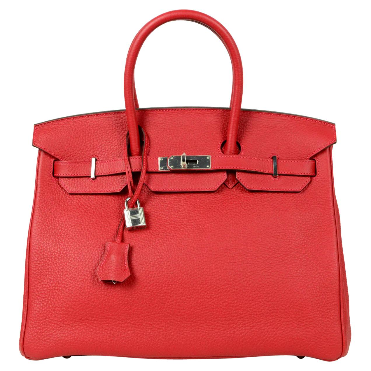 Hermes NEW IN BOX 35cm Red Clemence Leather 35cm Birkin Bag PHW