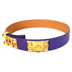 Hermes New Iris Purple Leather Collier De Chien CDC Belt w. Gold Hardware sz 85
