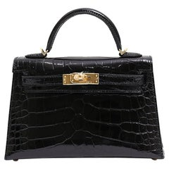 Hermes NEW Kelly 20 Mini Black Alligator Gold Top Handle Satchel Shoulder Bag