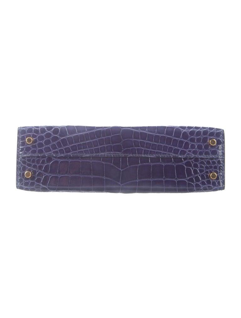 Gray Hermes NEW Kelly 20 Mini Blue Alligator Top Handle Satchel Shoulder Bag in Box For Sale
