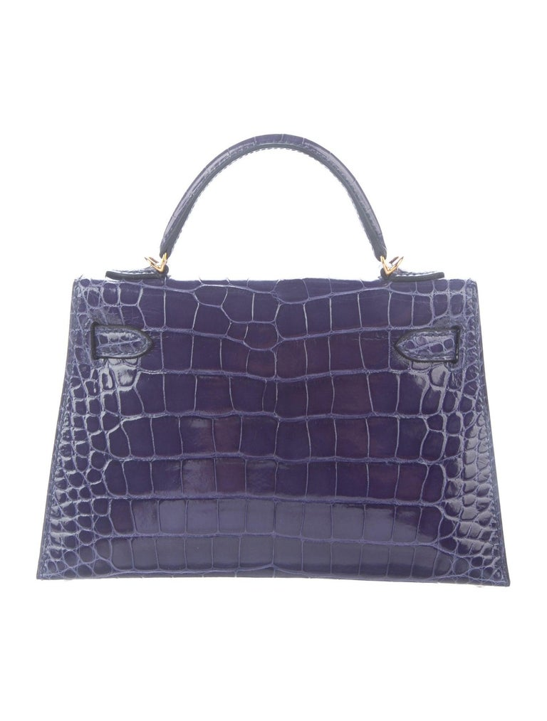 Hermes NEW Kelly 20 Mini Blue Alligator Top Handle Satchel Shoulder Bag in Box In New Condition For Sale In Chicago, IL