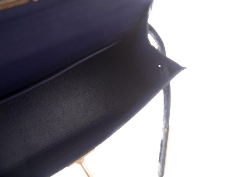 Women's Hermes NEW Kelly 20 Mini Blue Alligator Top Handle Satchel Shoulder Bag in Box For Sale