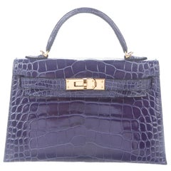 Hermes NEW Kelly 20 Mini Blue Alligator Top Handle Satchel Shoulder Bag in Box