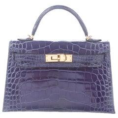 Hermes NEW Kelly 20 Mini Blue Alligator Top Handle Satchel Shoulder Bag in Box
