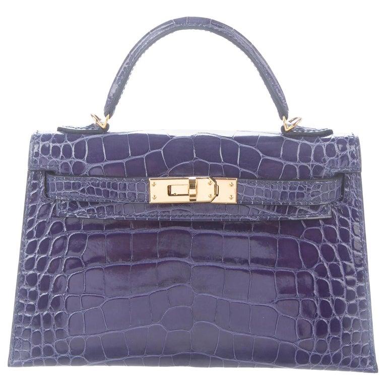 Hermes NEW Kelly 20 Mini Blue Alligator Top Handle Satchel Shoulder Bag in Box For Sale