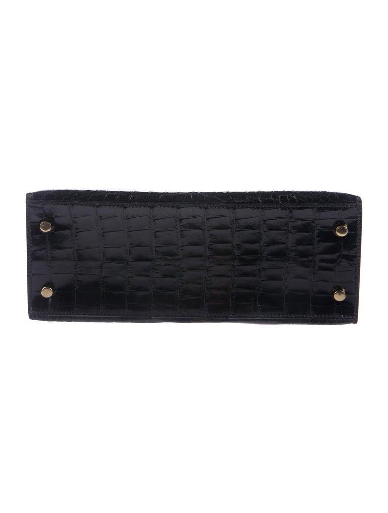 Women's Hermes NEW Kelly 25 Black Leather Alligator Top Handle Tote Shoulder Bag For Sale