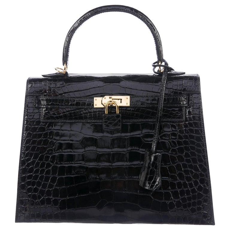Hermes NEW Kelly 25 Black Leather Alligator Top Handle Tote Shoulder Bag For Sale